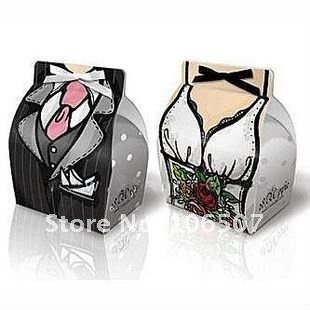 FREE SHIPPING-50 sets(100pcs) Tuxedo and Gown Favour Gift Box favor candy box Wedding Supplies-Quality Guarantee