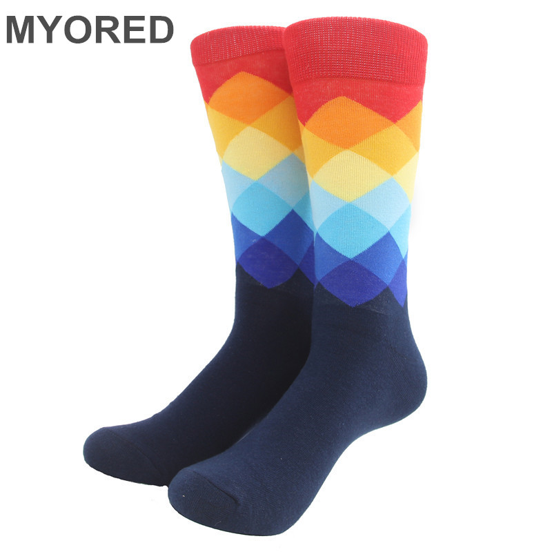 MYORED Male Tide Brand Happy Socks Gradient Color summer Style Cotton wedding sock Men's Knee High Business Socks man sox(China (Mainland))
