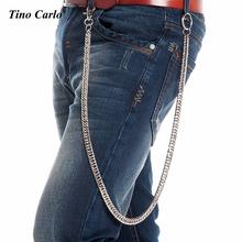 9mm Men's 84cm Long Silver Metal Cuban Curb Wallet Chain Classic Chunky Fashion Jeans Keychain Rock Biker Punk Chain 33