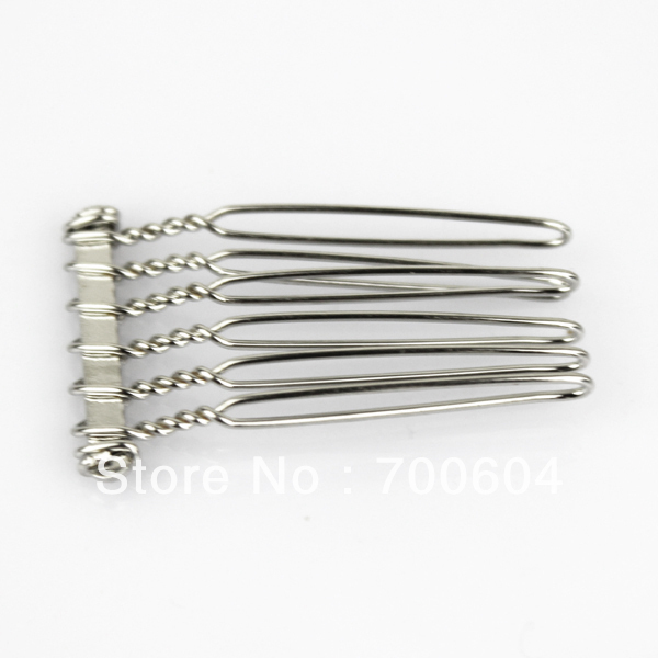12pcs/lot multifunctional 6 teeth metal wire comb with silver color original factory supply wholesale hair combs(China (Mainland))