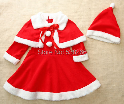 2014 Holiday Baby Girls Christmas Warm Cotton Clothes Hat Dress Shawl 3Pcs Sets Outfits Party For Age1-4Y(China (Mainland))