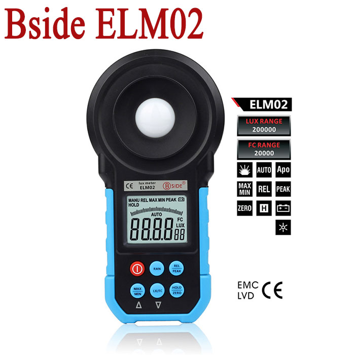 Bside ELM02 20~200000 Lux Meter Environmental testing equipment handheld type Digital Light Meter Luxmeter Illuminometer(China (Mainland))