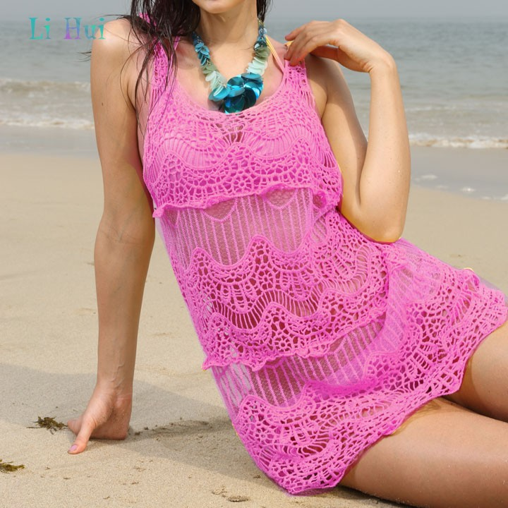 Cheap 2014 New Sexy Women's Girl Round Collar Flower Hollow Vest Smock Swimwear Beach Dress Bikini B16(China (Mainland))