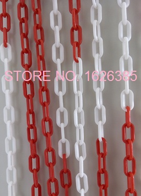 6MMX25M Plastic chain traffic caution alert warning Road cone isolation protection chain Guardrail protector parking barrier(China (Mainland))