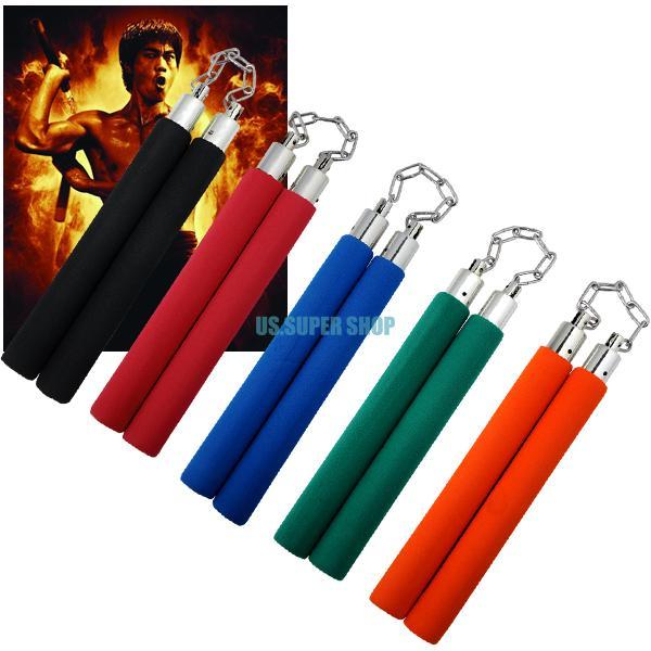 2pcs/lot Hot Martial Arts Training Tool Foam Nunchucks Karate Ninja Nunchakus 5 Colors EQC433(China (Mainland))