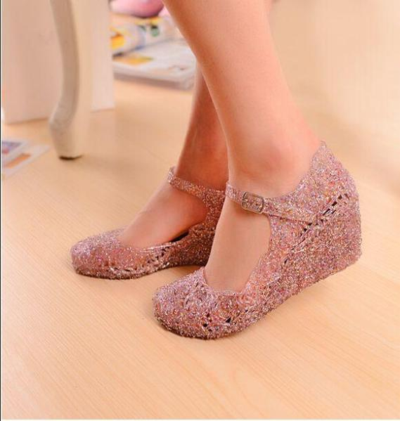 Summer breathable crystal bling plastic jelly shoes cutout flat heel bird nest mesh bird nest female women flat sandals(China (Mainland))