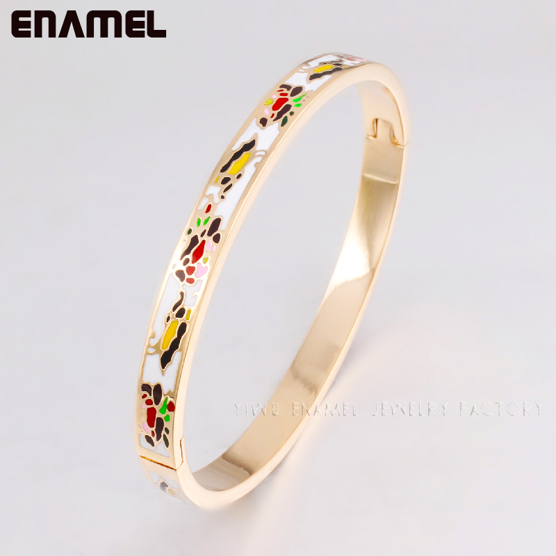 2015 new arrival! 0.6MM Width Muslim Enamel 18k gold stainless steel bracelet bangles for women man high quality joyas(China (Mainland))