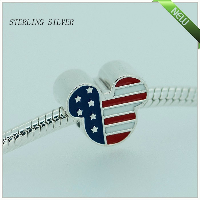 Fits for Pandora Bracelets Mouse USA Charms With Red White and Blue Enamel 100% 925 Sterling Silver Beads Jewelry Free Shipping(China (Mainland))