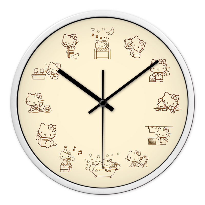 Hello Kitty pink girls bedroom wall clock children room quiet personality art restoring ancient ways quartz clock(China (Mainland))