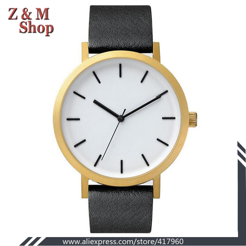 Classic White Face Gold Leather Watch Men Fahion Simple Design Casual Watch 2 Year Warranty China Factory Cheap Brand Wristwatch(China (Mainland))