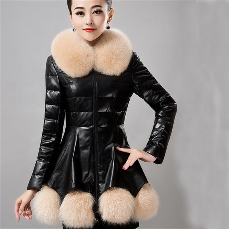 2015 New Winter Women Down Coat Fur Collar Hem Patchwork Jacket Female Long Slim Leather Outwear Plus Size 5 Colors ZS106(China (Mainland))
