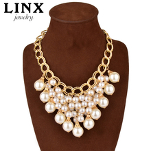 LINX Fashion Luxury Gold Plated Necklace Pearl Tassel Choker Statement Necklaces Women Jewelry QT021(China (Mainland))