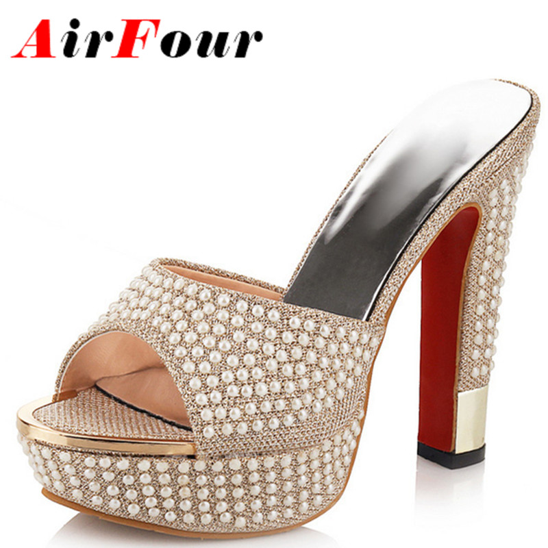 Airfour Summer Shoes Woman High Heels Slippers Shoes Women Golden White Shoes Sexy Peep Toe Sandals Women Platform Shoes(China (Mainland))