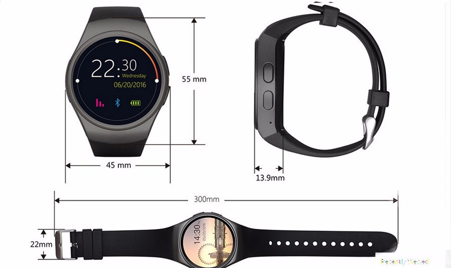 KW18 Bluetooth Smart Watch Clock Support SIM Card Heart Rate Pedometer Fitness Tracker Smartwatch For iPhone android Smartphone