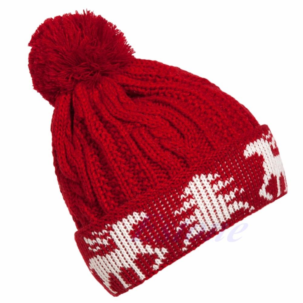 Free Shipping Women Winter Warm Ball Cap Christmas Tree Deer Knitting Crochet Beanie Hat(China (Mainland))