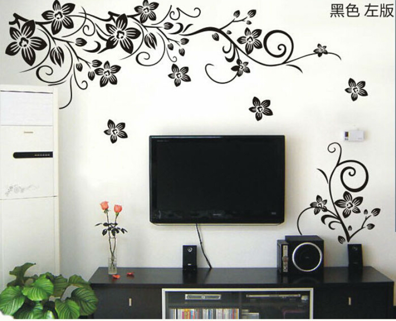 Buy hot vine wall stickers flower wall decal removable art pvc home decor - Flower wall designs for a bedroom ...