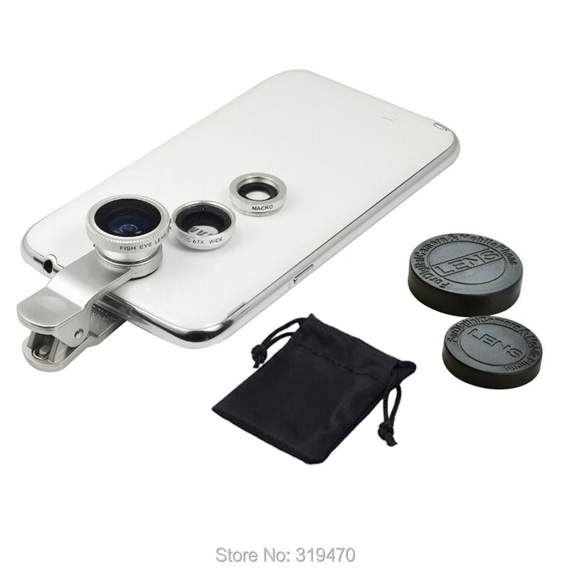 Гаджет  Sliver Universal 3in1 Clip Fish Eye Lens Wide Angle Macro Mobile Phone Lens For iPhone 5 6 Plus Samsung All Phones fisheye MOTO  None Телефоны и Телекоммуникации