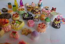 Free shipping 30Pcs/lot randomly 1/12 Mini Food  Lovely   Cake soda biscuit  smoothies jam  For Barbie BJD Doll House Play Toys(China (Mainland))