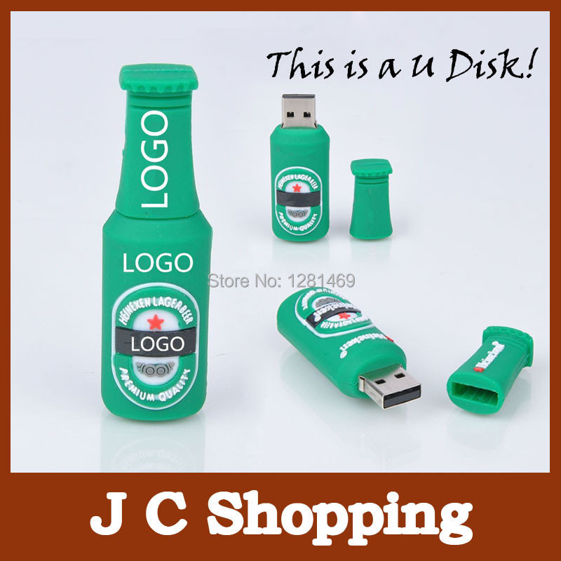 usb flash drive u disk silicone lovely green beer usb flash drive pendrive 4GB 8GB 16GB 32GB 64GB Memory stick Pen Drive u disk(China (Mainland))