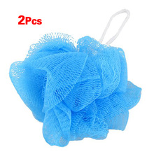 Mesh Soft Bath Sponge Body Pouf Shower Loop Scrubber Blue 2 Pcs(China (Mainland))