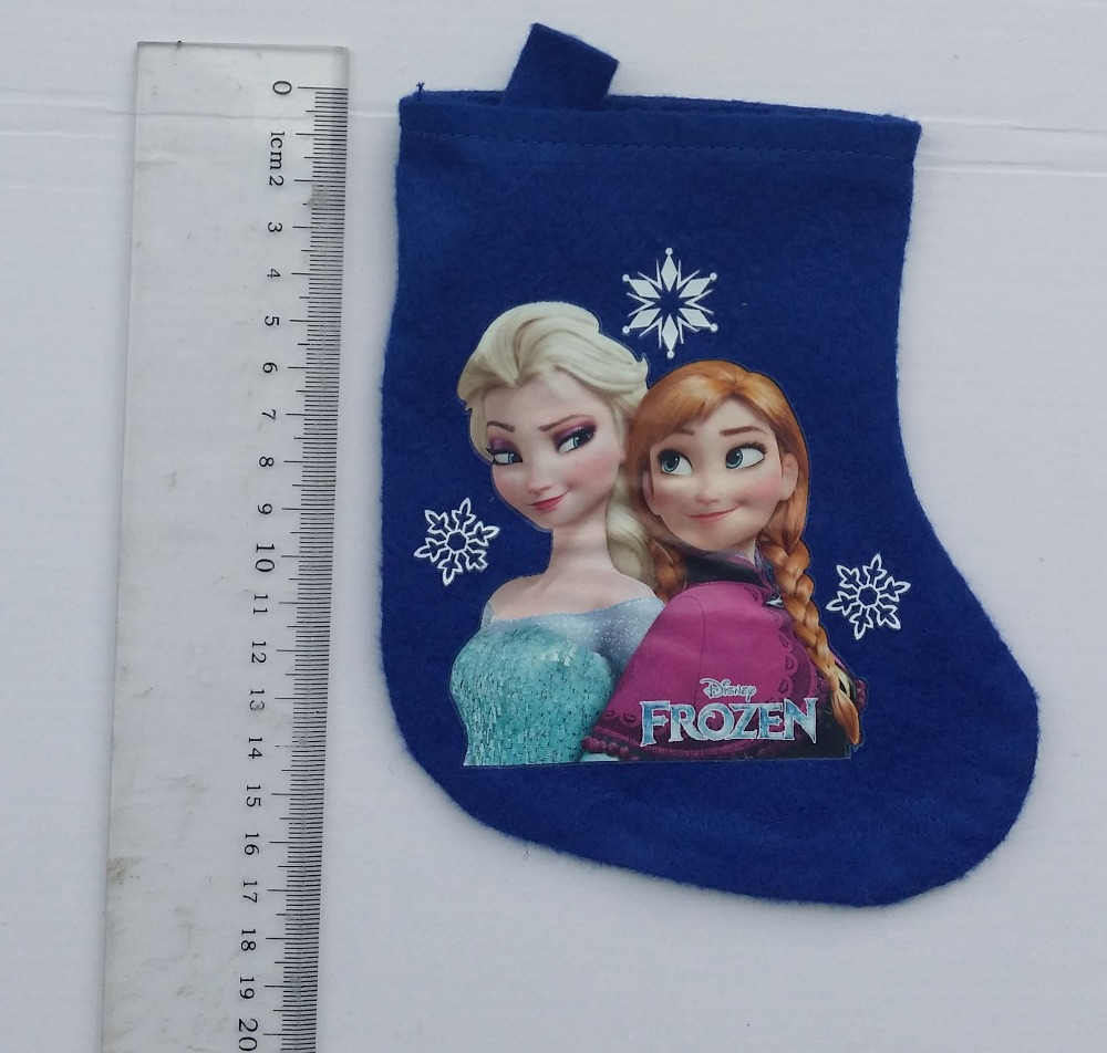 Free Shipping.5pcs/lot,41cm,toy story,minnie mouse,tinkerbell, children Cartoon Christmas sock stocking Christmas gift bag(China (Mainland))