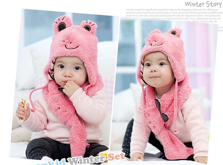 2015 New Fashion Baby Unisex Active Warm Animal Hat & Scarf Character Warmer Children 1 Set Free Shipping(China (Mainland))