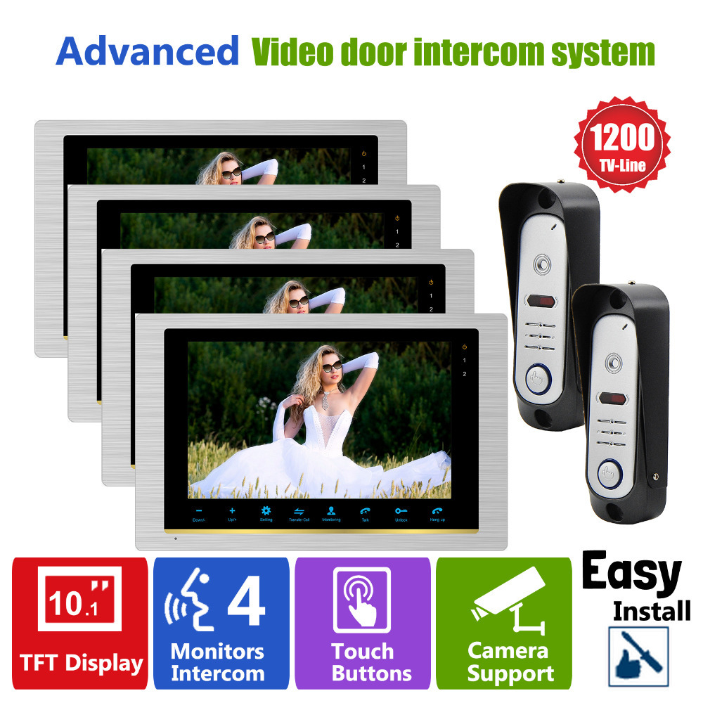 Ysecu 10 inch home intercom video door phone system front for Front door video intercom