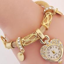 Fashion Women Dress Watch New Arrival Gold and Silver Chain Casual Women Love Heart Charm Wristwatch Quartz Bracelet Watches(China (Mainland))