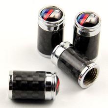 High Quality Real Carbon Fiber Chrome Metal Car Wheel Tire Tyre Valve Caps Dustproof Dust Cap for BMW M Type 4PCS