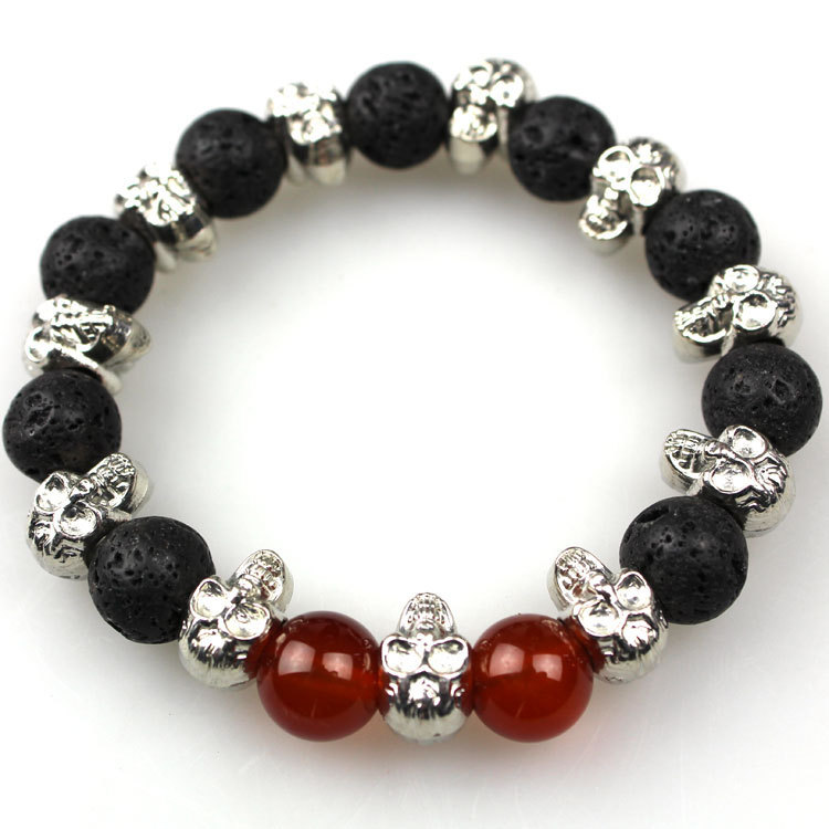 Free shipping, 8mm Black Volcanic rock, Onyx, Silver Skull Bracelet Yoga, Men and Women Gift(China (Mainland))