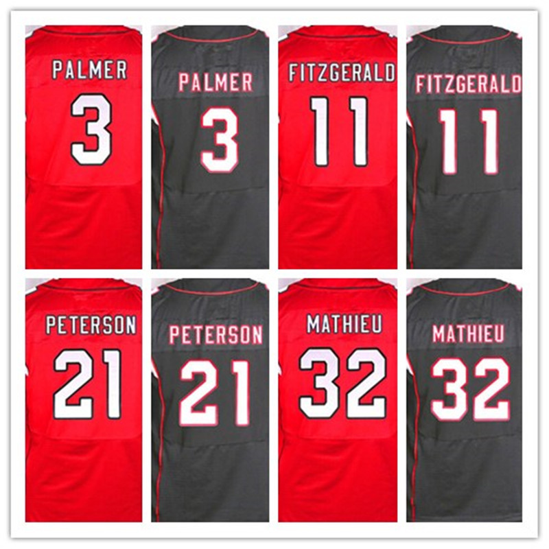 Best quality jersey,Men's 3 Carson Palmer 11 Larry Fitzgerald 21 Patrick Peterson 32 Tyrann Mathieu elite jerseys,Red and Black(China (Mainland))