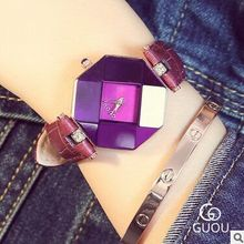 HK Brand GUOU Fashion Ladies Genuine Leather Top Quality Retro Simple Perfume bottle cut face fashion diamond watch giving gifts(China (Mainland))