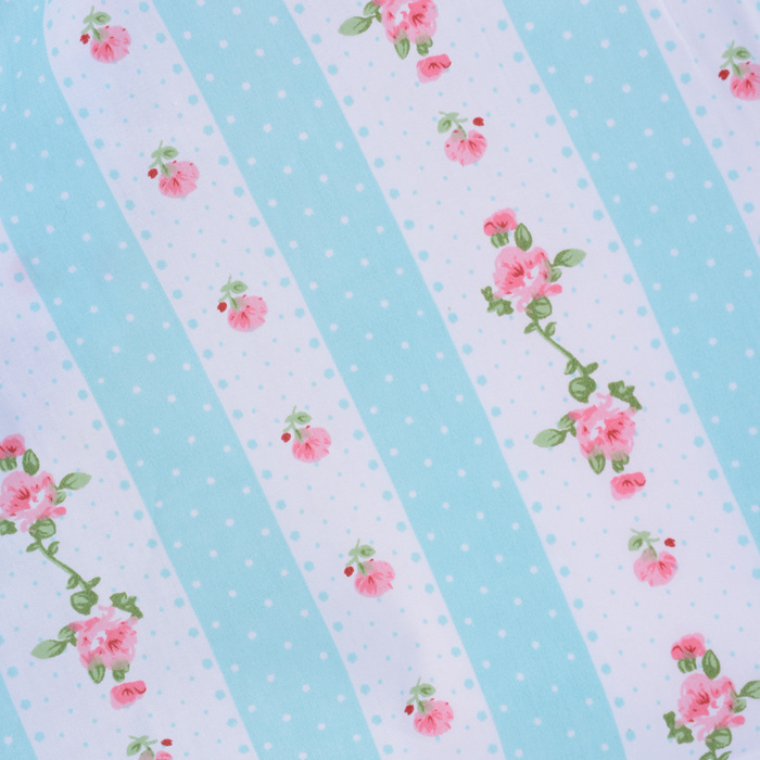 1 Meter 160*100cm 100% Cotton Fabic Small Roses Polka Dots on Light Blue Printed Tilda Cloth Patchwork Sewing Tissues Quilting(China (Mainland))