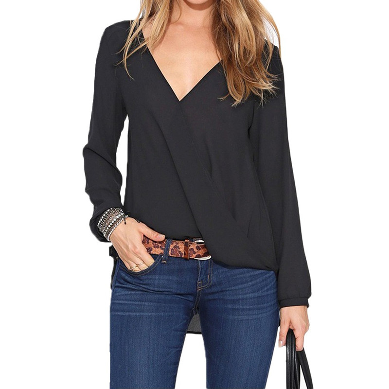 New Fashion Women Chiffon Blouse Sexy V Neck Wrap Front Long Sleeve Casual Shirt Tops In Blouses