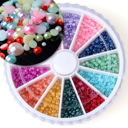 diy tools 3D Nail Art Half Round Pearls Rhinestone 12 Colors Decoration Wheel 2mm Slice glitter for  acrylic Polymer Nail Art<br><br>Aliexpress