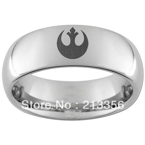 10PCS/LOT FREE SHIPPING!USA WHOLESALES CHEAP PRICE 8MM WOMEN&MENS HIS/HER SILVER DOME STAR WARS TUNGSTEN CARBIDE BRIDAL RING(China (Mainland))