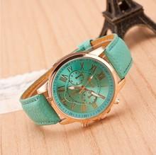 2015 de cuero reloj del cuarzo analógico reloj ocasional Relogio mujeres se visten de lujo reloj de la pulsera de ginebra de números romanos genuina