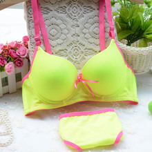 New arrival Lolita cotton bra set fluorescent candy color comfortable girls underwear bra sets(China (Mainland))