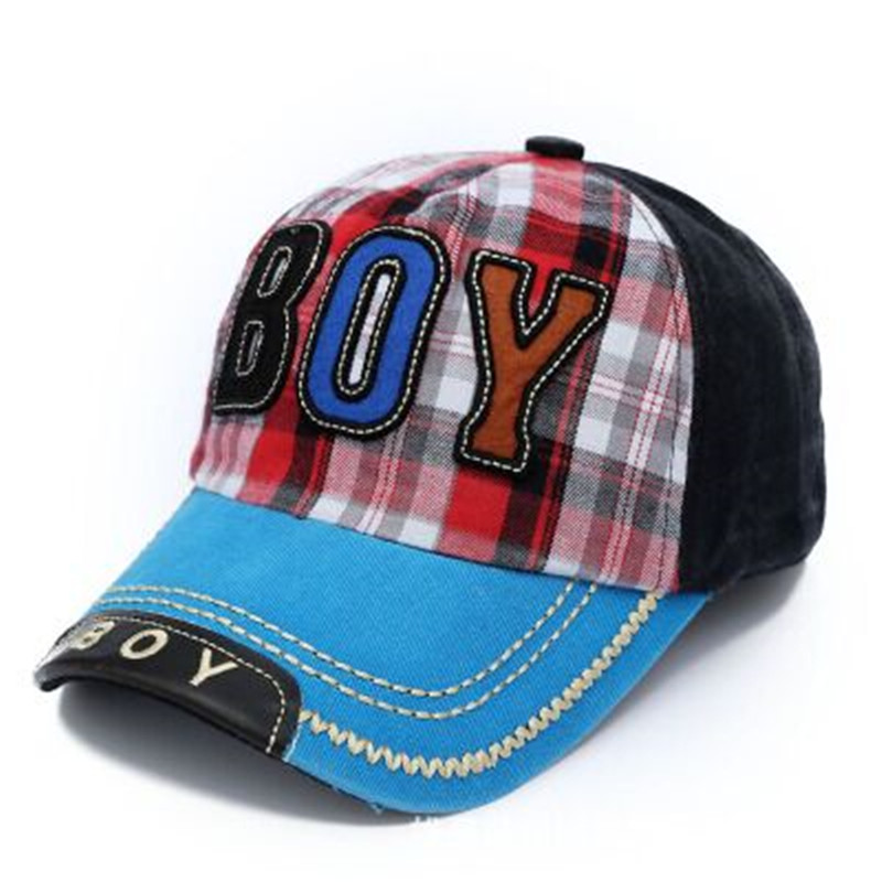 Free shipping 2016 Children washed denim baseball cap subsidies BOY embroidered cap in the 4-9 year-old baby boy with Plaid Hat(China (Mainland))