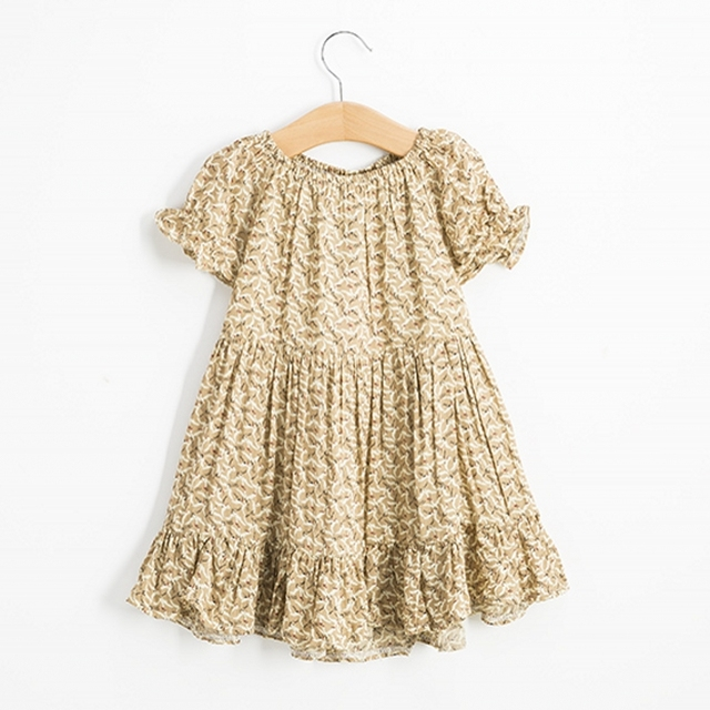 Розничные летние рождения ребенка платья прекрасный с коротким рукавом хлопок детской одежды платье 2-7Y бесплатная доставка