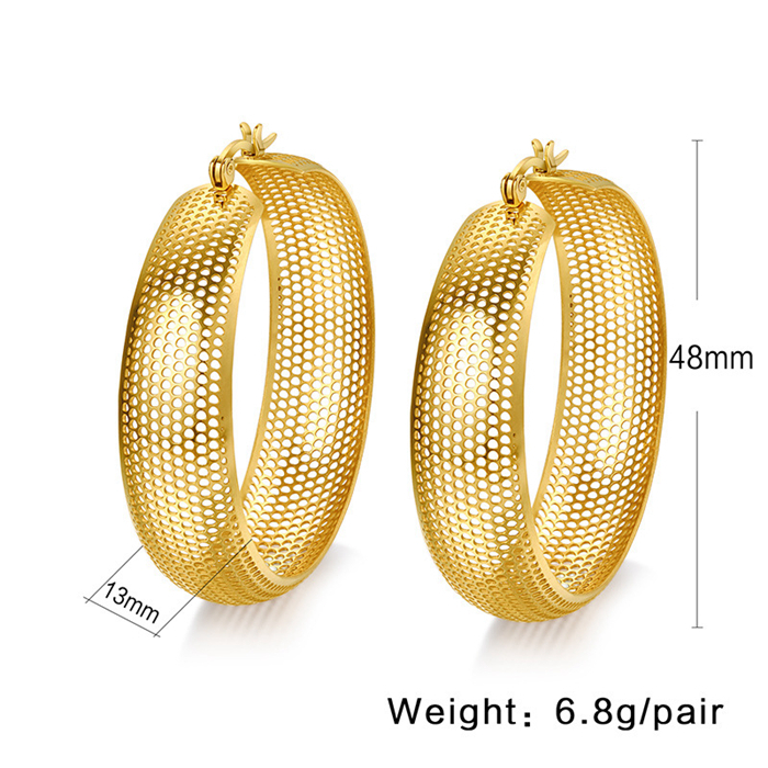 ORSA Luxury 18K Gold Plated Round Hoop Earrings High Quality Titanium Steel Hollow Earrings Jewelry OTE21<br><br>Aliexpress