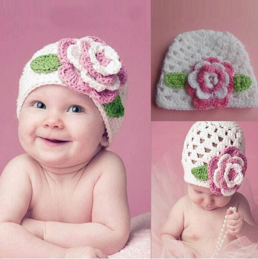 knit cap for newborns Cute Big Flower Baby Kids Infant Toddler Girl Warm Knit Hat Cap woolen caps for kids gorros lowest price(China (Mainland))