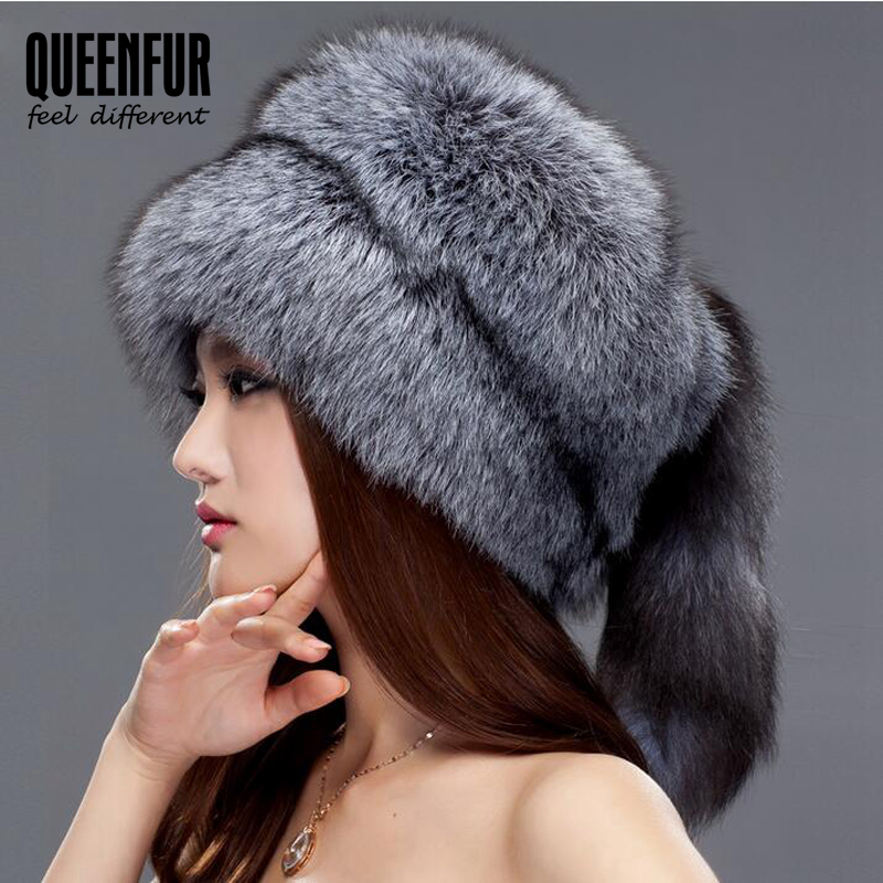QUEENFUR Women Beanies Whole Knitted Fox Fur Hat With Tail 2016 Fashion Winter Warm Big Skullies Caps Brown Raccoon Fur Hats(China (Mainland))