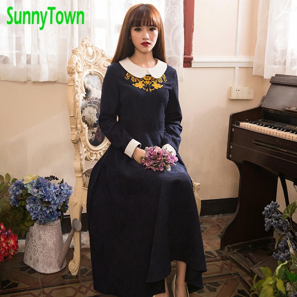 Brand New Arrivals Peter Pan Collar Embroidery Vintage Long Sleeve Winter Dress Women 2016 Autumn High Waist Maxi Dresses Blue