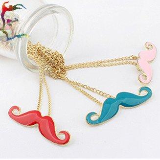 Wholesale fashion Red Blue Pink Goatee pendant necklace Gold chain mustache charm neckalce jewelry 36pcs/Lot Free shipping(China (Mainland))