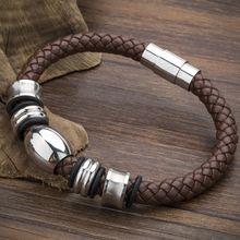 Wysokiej jakości moda Handmade skórzana bransoletka Trendy klasyczny urok marki Wrap bransoletki ze stali nierdzewnej bransoletki.(China)