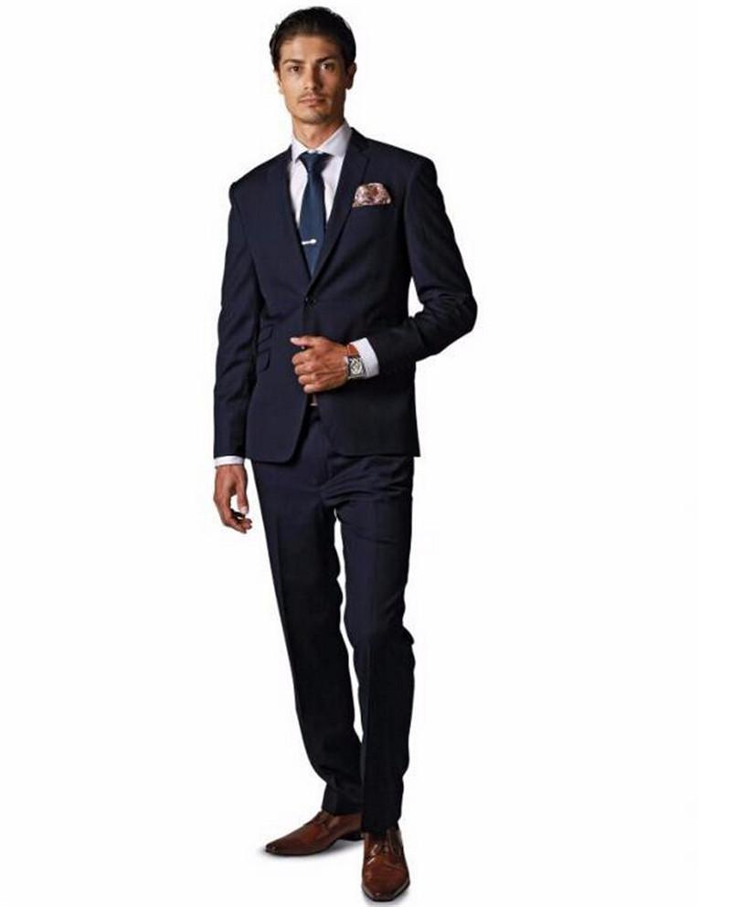 Men Suits Slim Fit Peaked Lapel Tuxedos Black Wedding Suits For Men 2016 Groomsmen Suits 3 Piece Suit (Jacket+Pants+Tie)