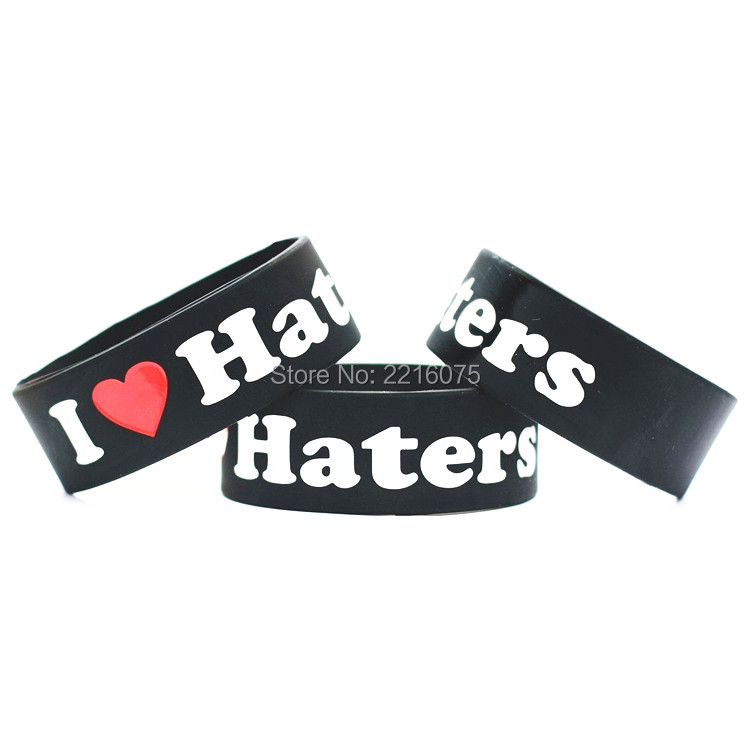300pcs One Inch I Love Haters wristband silicone bracelets free shipping by FEDEX express(China (Mainland))