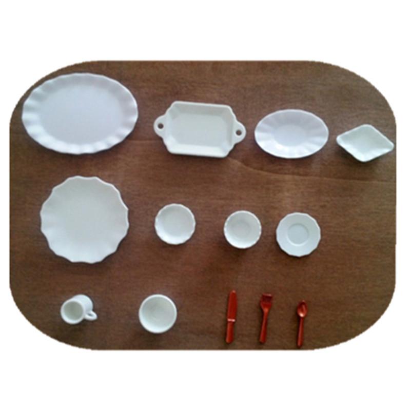 Mix 26pcs Dollhouse White Kawaii Japanese Miniature Plates Fake Food Handmade Craft Decoden Doll House MC003 Free Shipping(China (Mainland))
