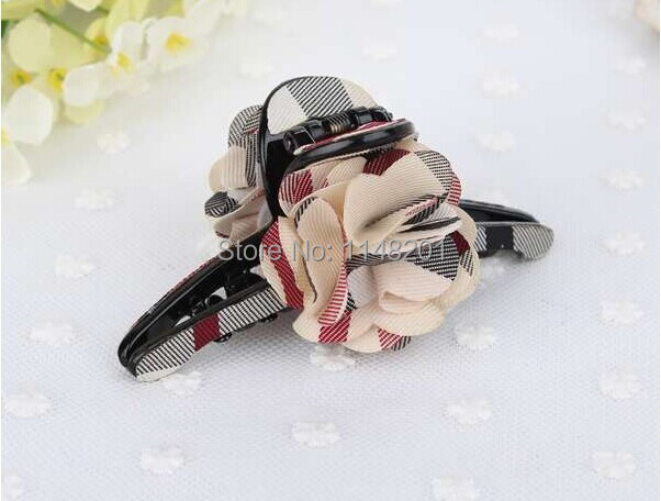 Free shipping !2014 new arrival Wholesale Hot Sale British style plaid cover bow flower hair claws women accessories 6pcs/lot(China (Mainland))